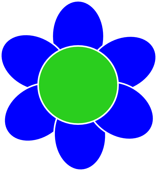 Blue And Green Flower Clipart.