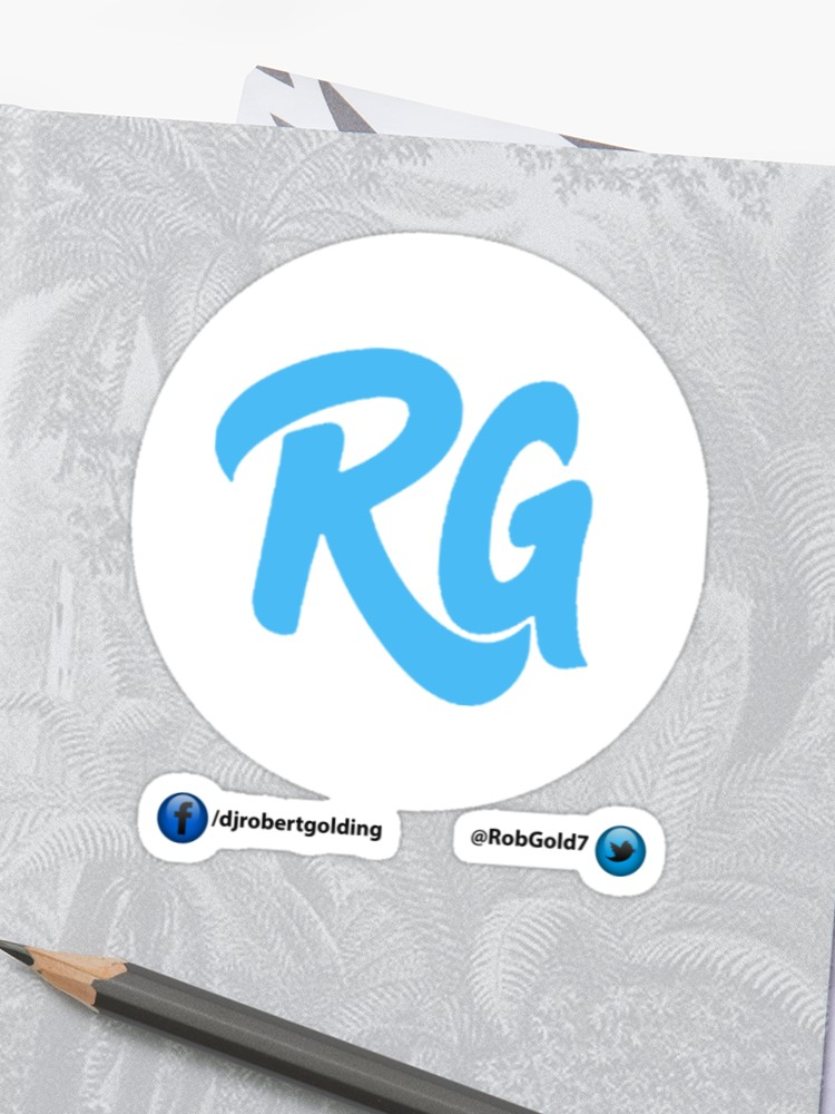 RG Logo with White Circles and Blue Lettering.