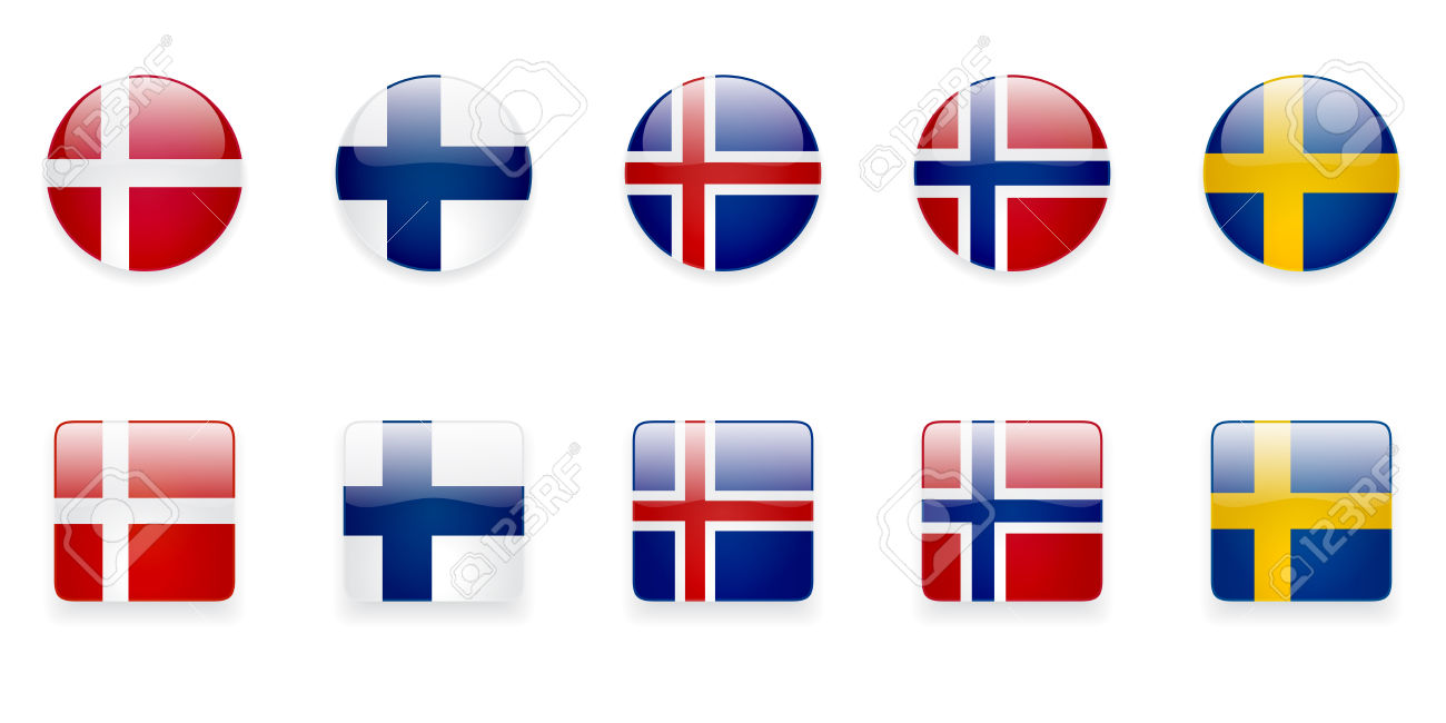 The Nordic Countries Flags Icons On White Background. Correct.
