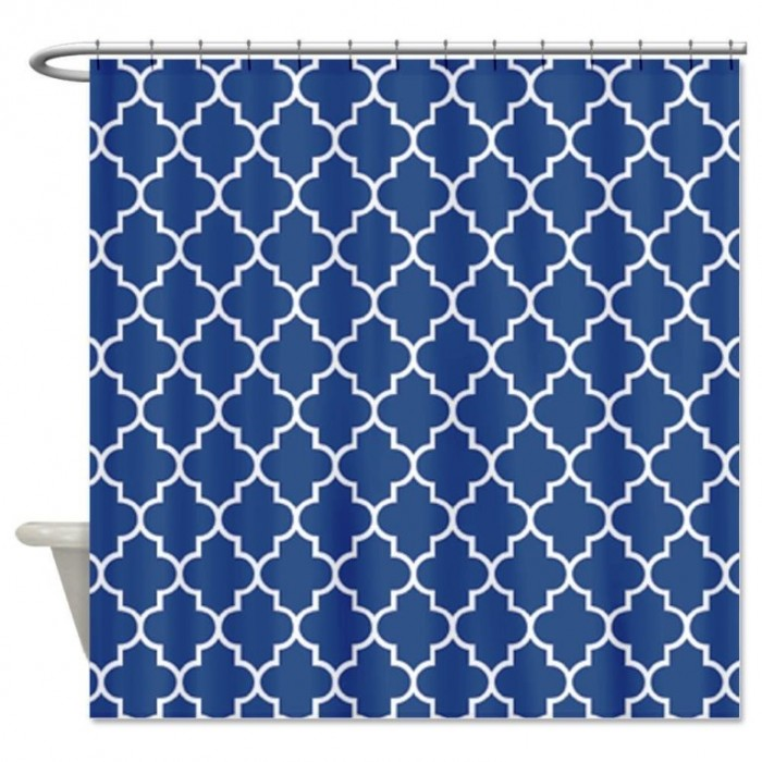 Navy Blue and White Shower Curtain, Navy Blue Shower Curtains in.