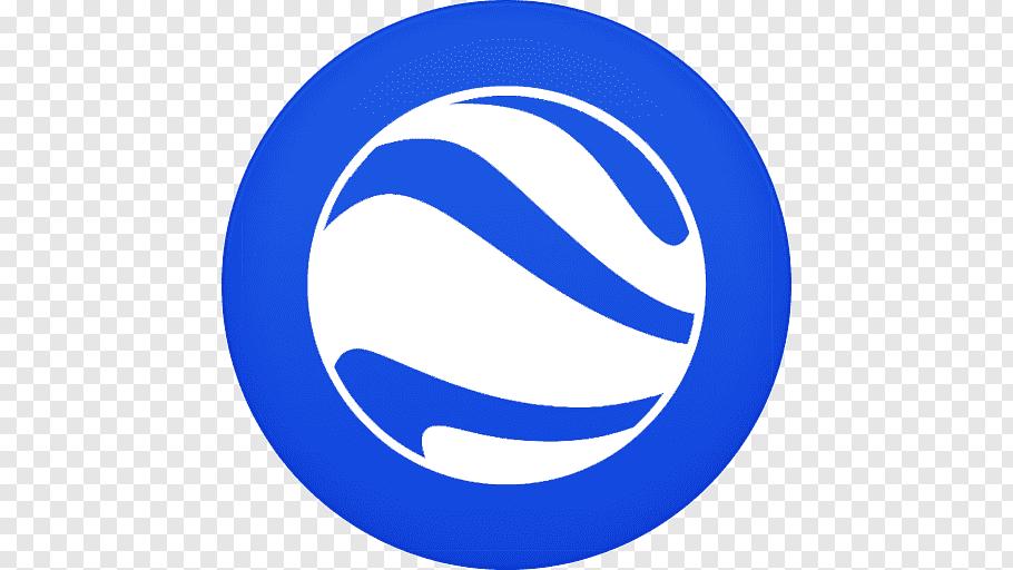 Round white and blue logo, blue area logo text symbol.