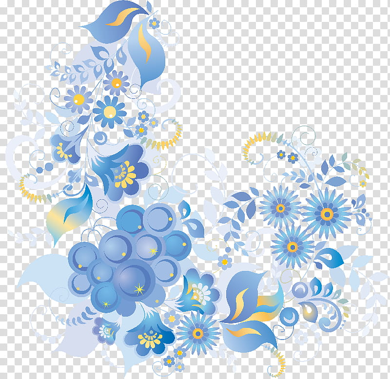 Blue and yellow flowers art transparent background PNG.
