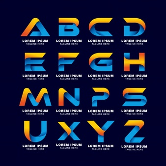 Alphabet letter logo template in gradients style. blue.