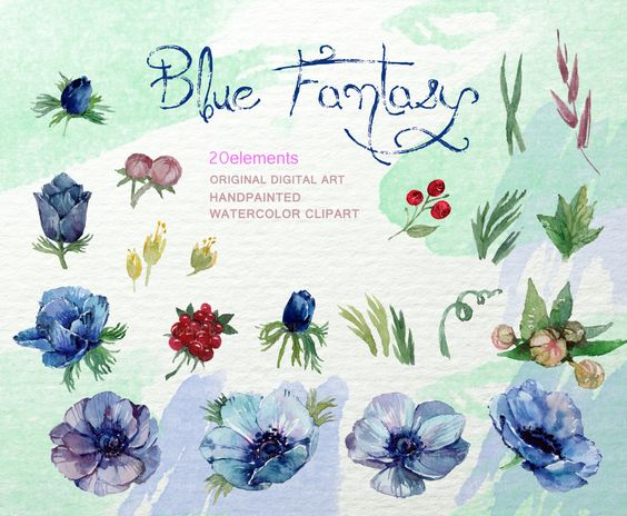 Blue Anemone Clip Art Rustic Floral Clipart Anemone от FLORISTKA.