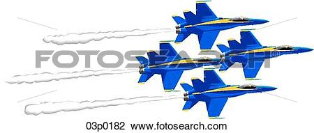 Clipart of blue angels formation (4) 03p0182.