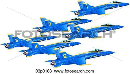 Clipart of blue angels formation (6) 03p0183.