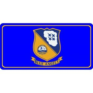 Details about naval air training command blue angels logo on blue license  plate usa made.