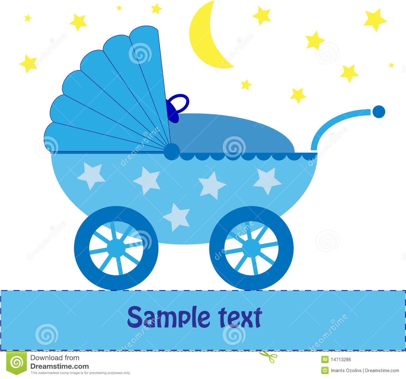 Blue Baby Pram at night stock vector. Illustration of background.