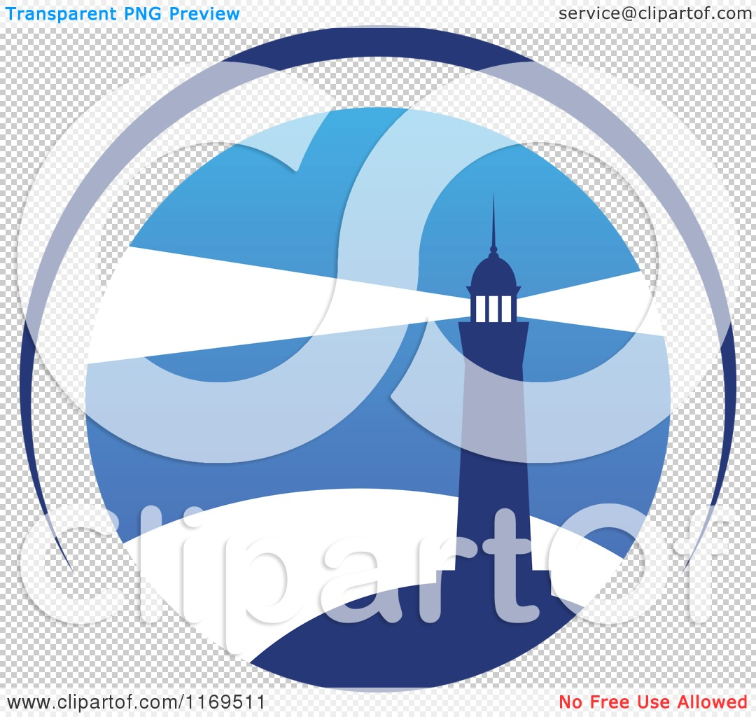 Clipart of a Lighthouse and Beacon over Blue 2.