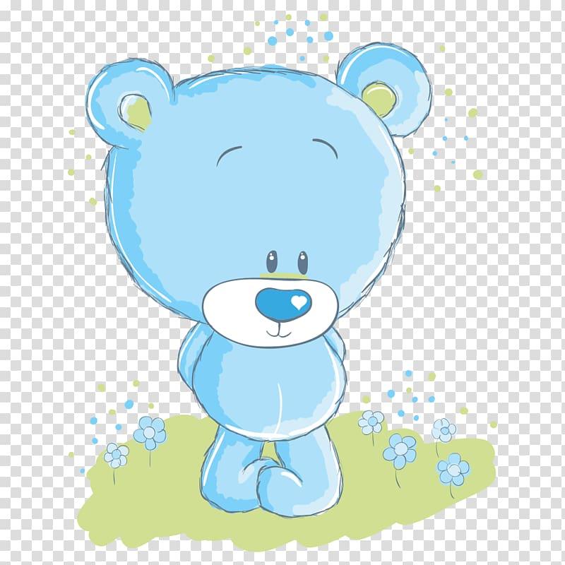 Blue bear illustration, Polar bear Cartoon , Cartoon bear.