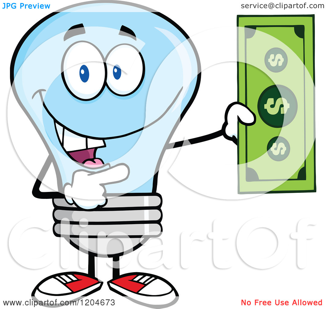 Cartoon of a Happy Blue Light Bulb Mascot Holding a Dollar Bill 2.