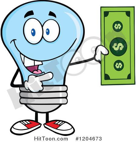 Blue Light Bulb Clipart #1204673: Happy Blue Light Bulb Mascot.