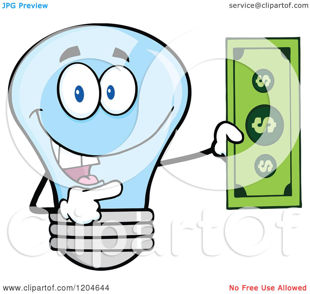 Cartoon of a Happy Blue Light Bulb Mascot Holding a Dollar Bill.