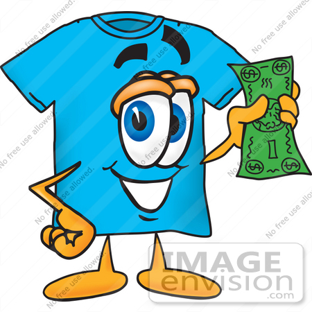 Clip Art Graphic of a Blue Short Sleeved T Shirt Character Holding.