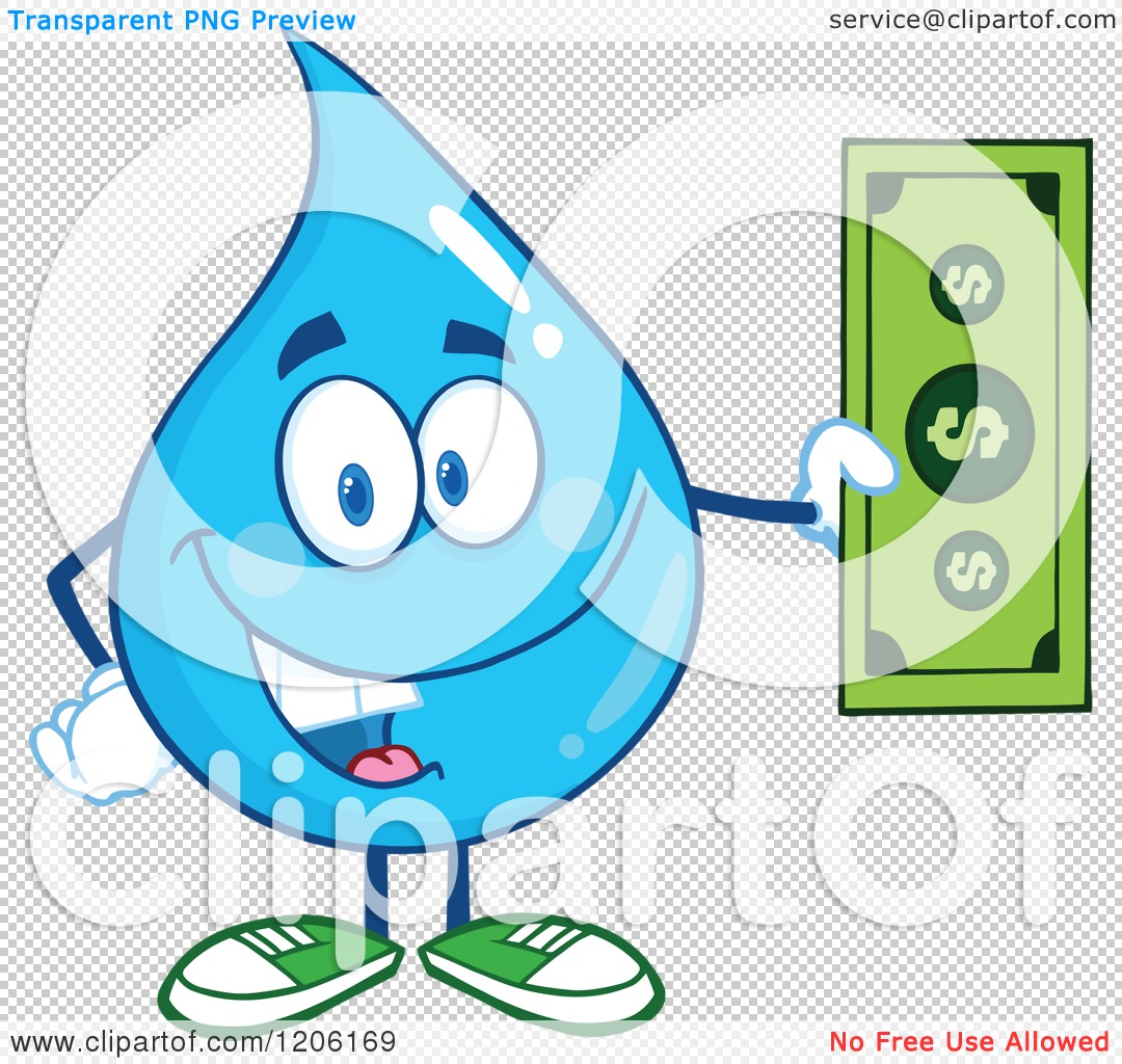 Cartoon of a Happy Blue Water Drop Holding a Dollar Bill.