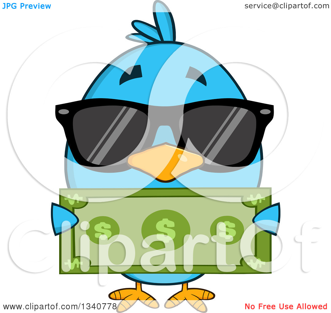 Clipart of a Cartoon Blue Bird Wearing Sunglasses and Holding a.