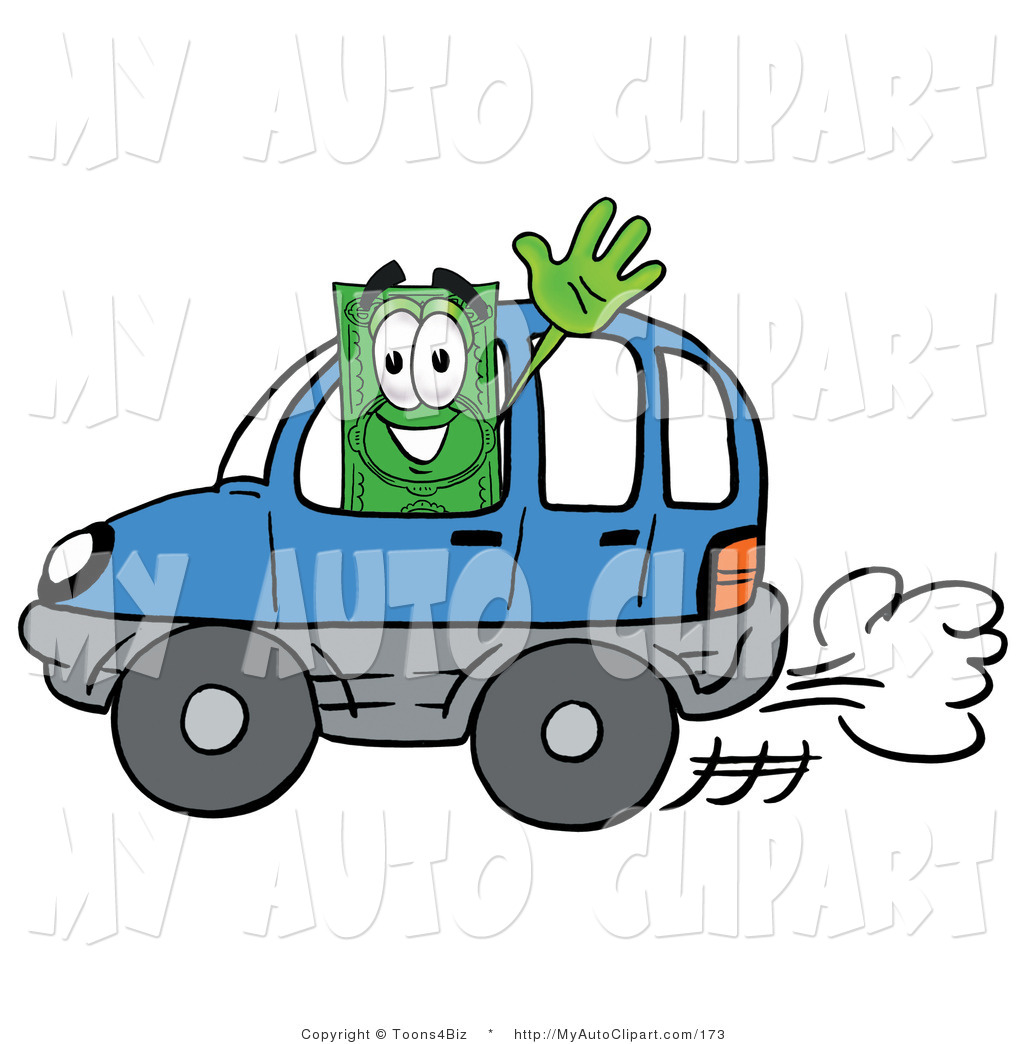 Clip Art of a Green Dollar Bill Mascot Cartoon Character Driving a.