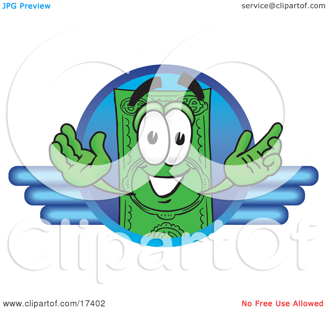 Clipart Picture of a Dollar Bill Mascot Cartoon Character on a.
