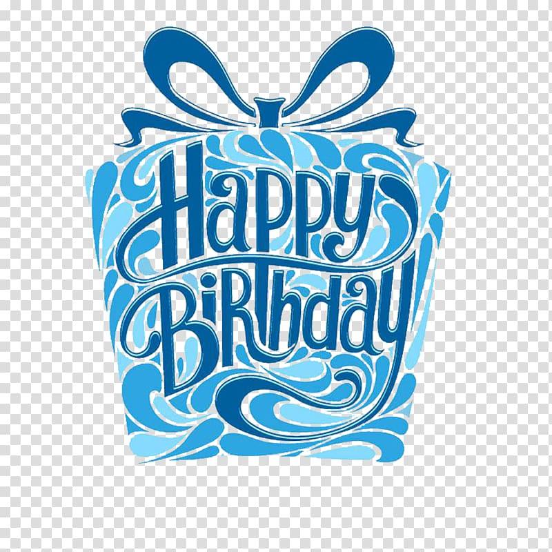 Blue and white Happy Birthday illustration, Birthday cake.