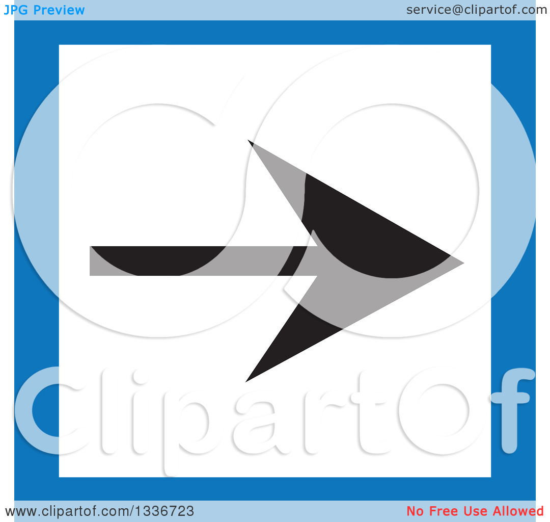 Clipart of a Flat Style Blue Black and White Square Arrow App Icon.
