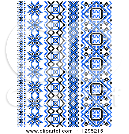 Clipart of Blue Black and White Vertical Native American Styled.