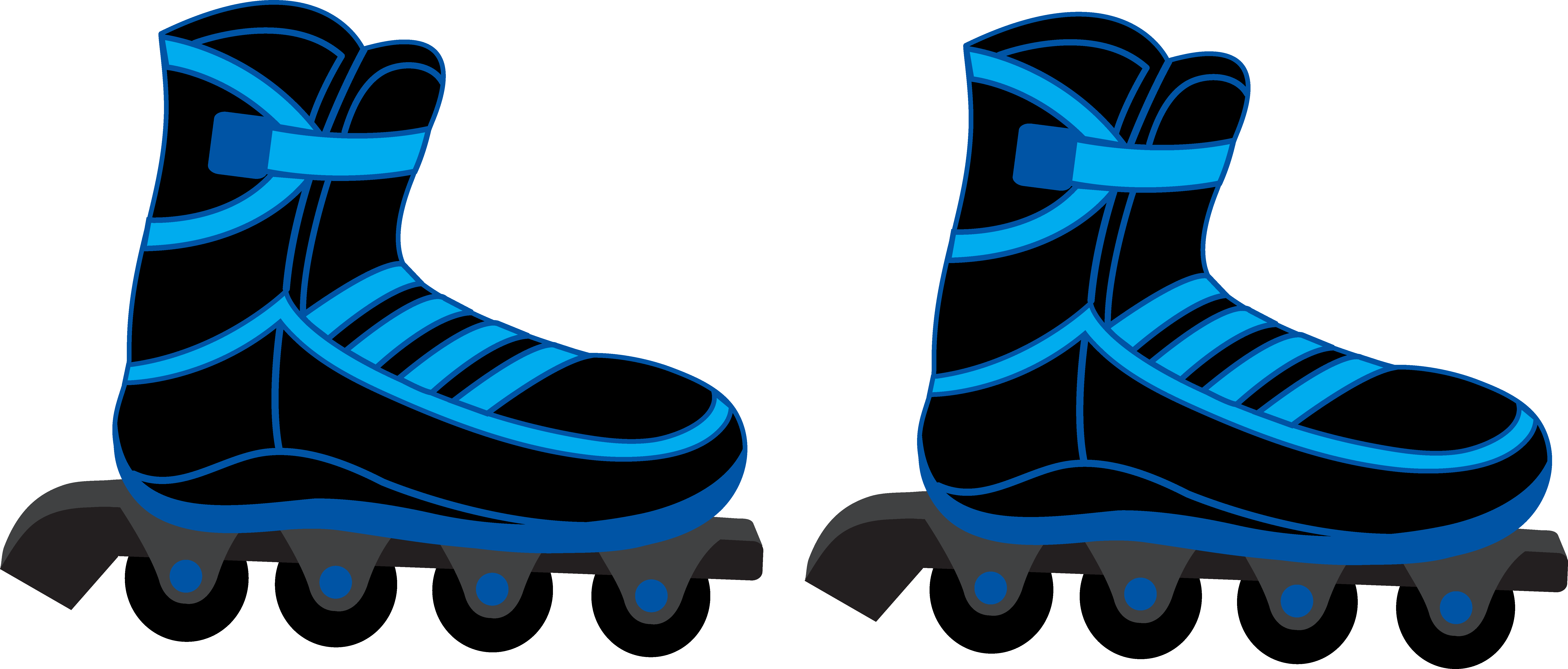Cool Blue and Black Rollerblades.