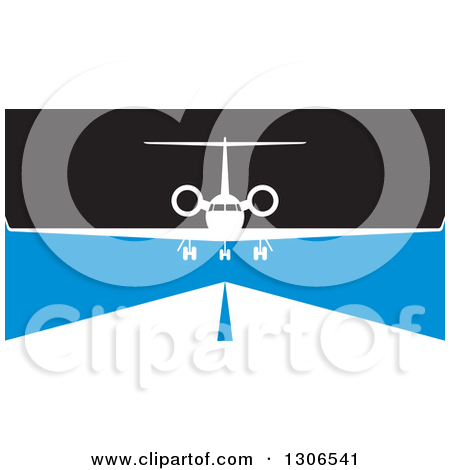 Clipart of an Airplane over a Runway in Blue Black and White.