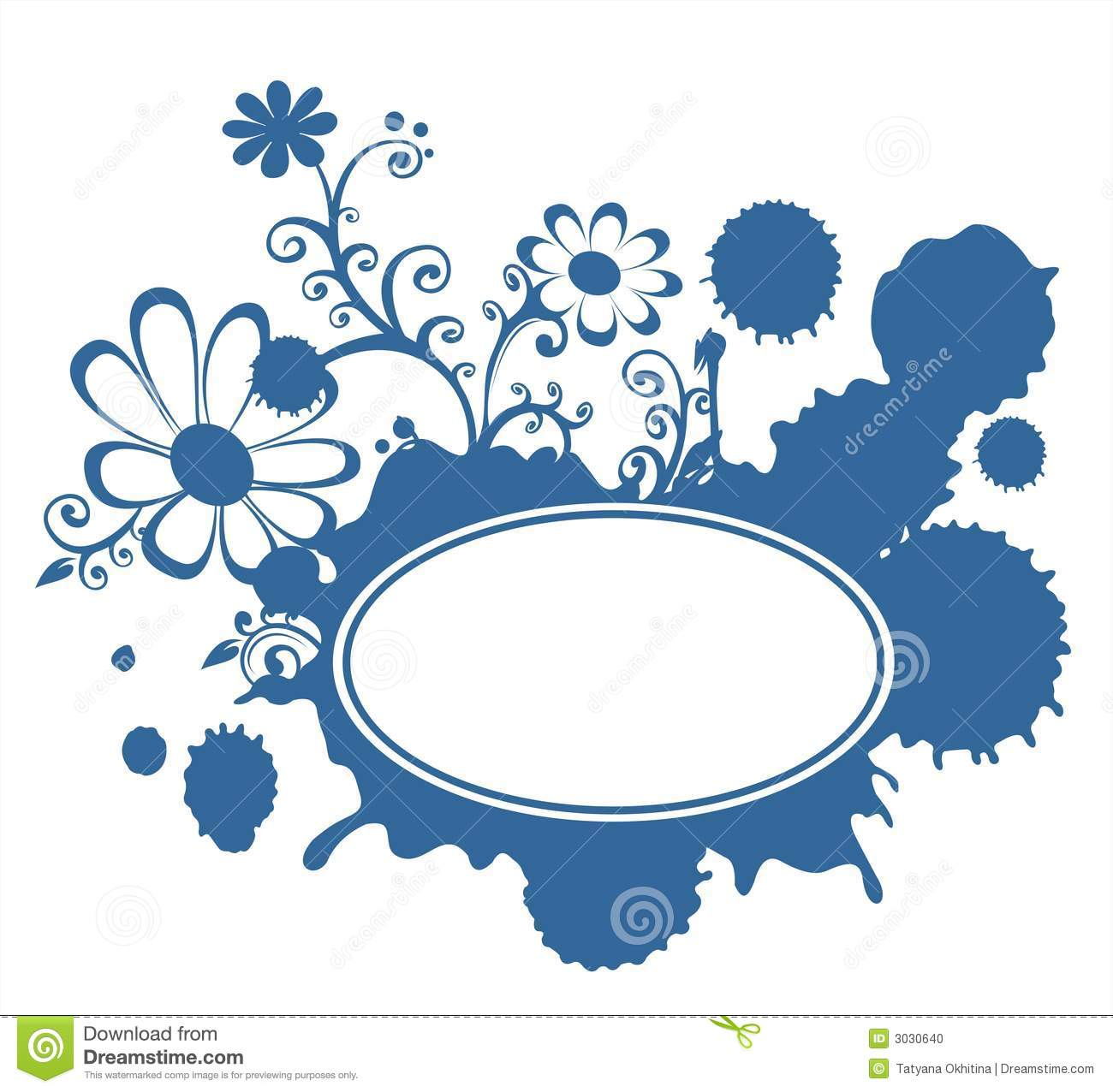 Blue Blot And Flowers Frame Stock Photo.
