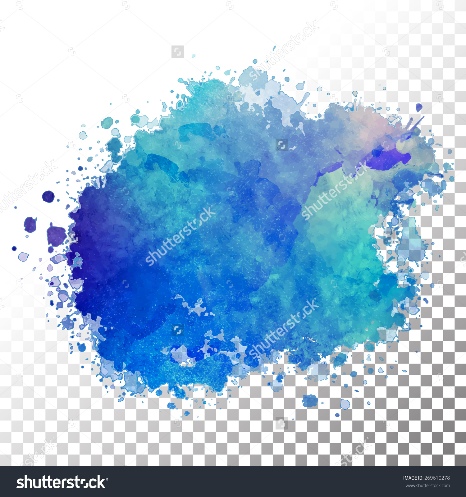 Vector Watercolor Painted Blue Blot Hand Stock Vector 269610278.