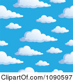 Clipart Seamless Puffy Swirl Cloud And Blue Sky Background.