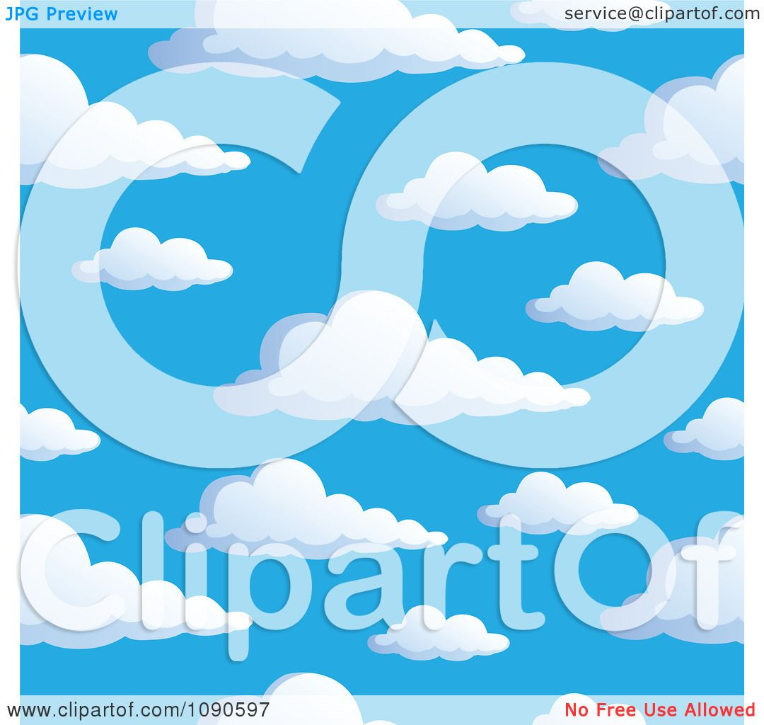 Clipart Seamless Colorful Puffy Cloud And Blue Sky Background.