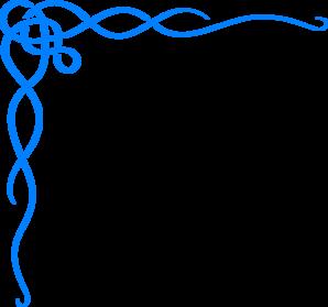 Blue Scroll Ribbon Border Clip Art.