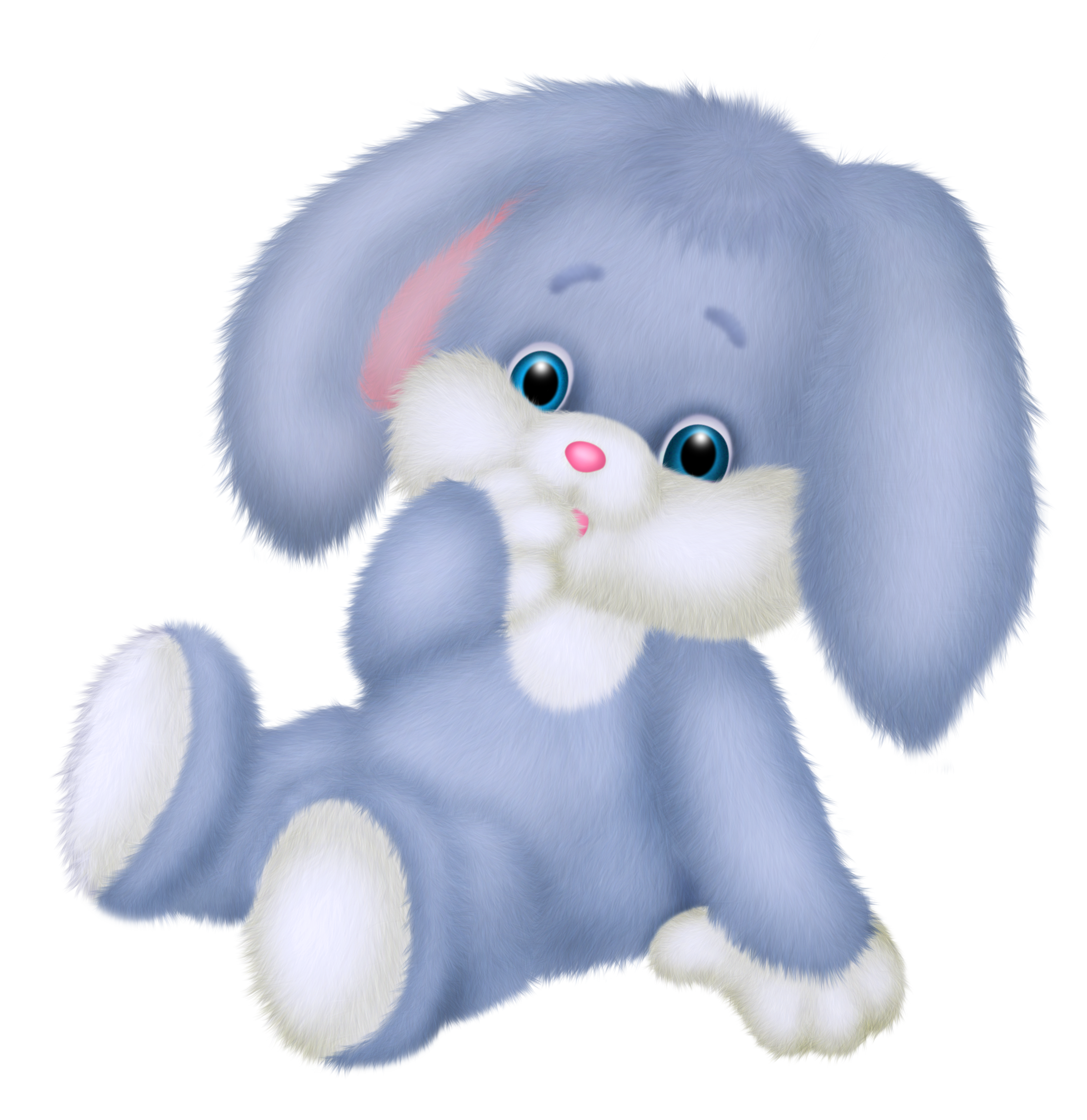 Cute Blue Bunny PNG Clipart Picture.