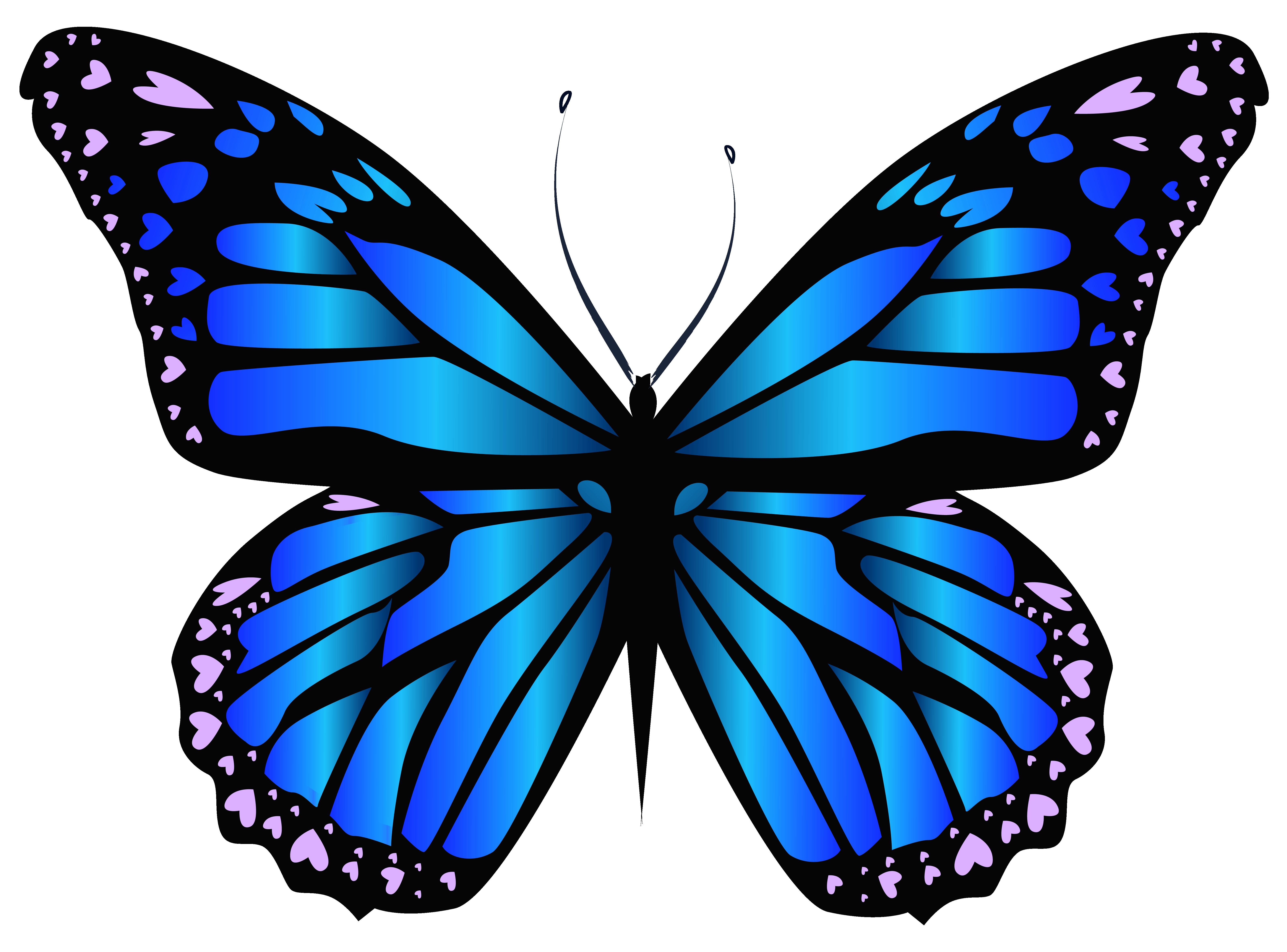 Blue Butterfly PNG Clipar Image.