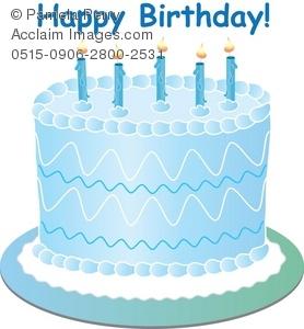 Clip Art Illustration of a Fancy Blue Birthday Cake for a Boy.