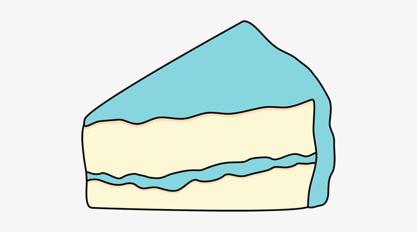 Slice Of White Cake With Blue Frosting.