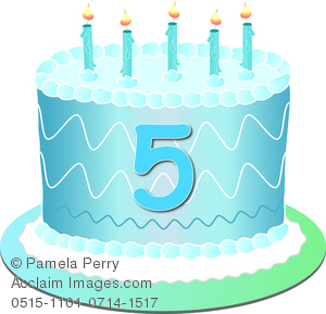 Clip Art Image of a Blue Birthday Cake With the Number 5.