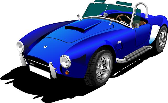 Blue classic car clipart.