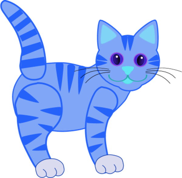 Blue Cat Clipart.