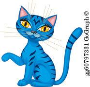 Blue Cat Clip Art.