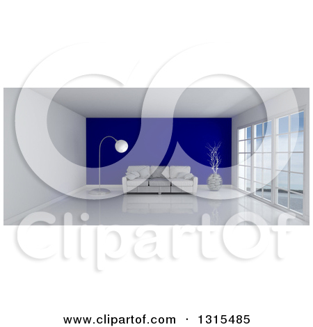 Clipart of a 3d Room Interior with Floor to Ceiling Windows and a.