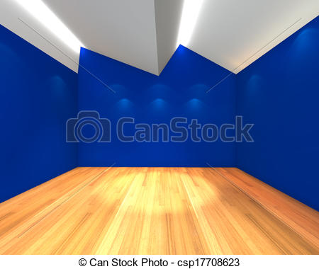 Clip Art of empty room blue wall with Ceiling serration.