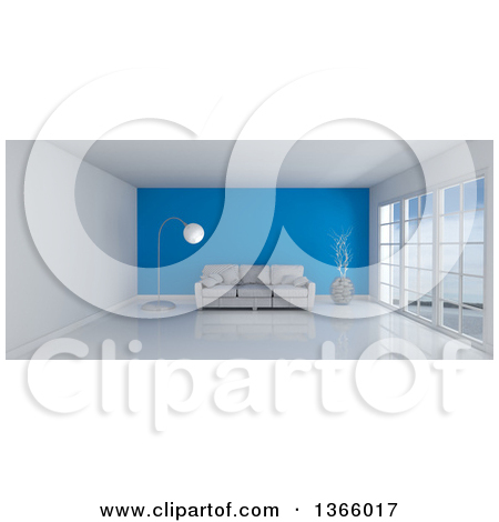 Clipart of a 3d White Room Interior with Floor to Ceiling Windows.