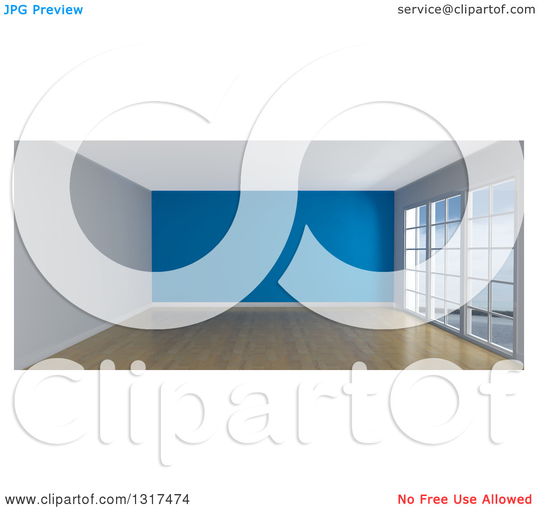Clipart of a 3d Empty Room Interior with Floor to Ceiling Windows.