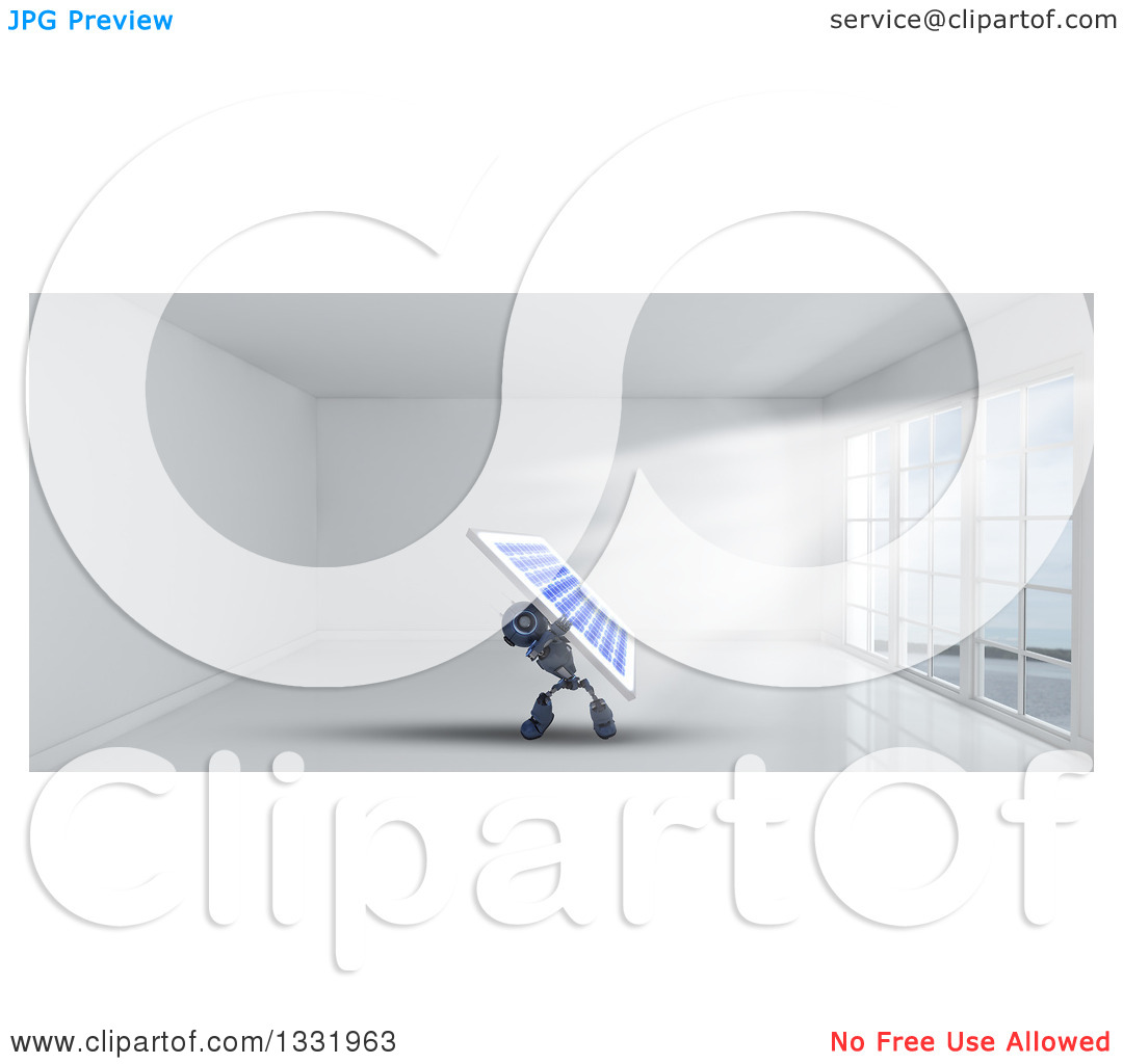 Clipart of a 3d Blue Android Robot Holding up a Solar Panel in a.