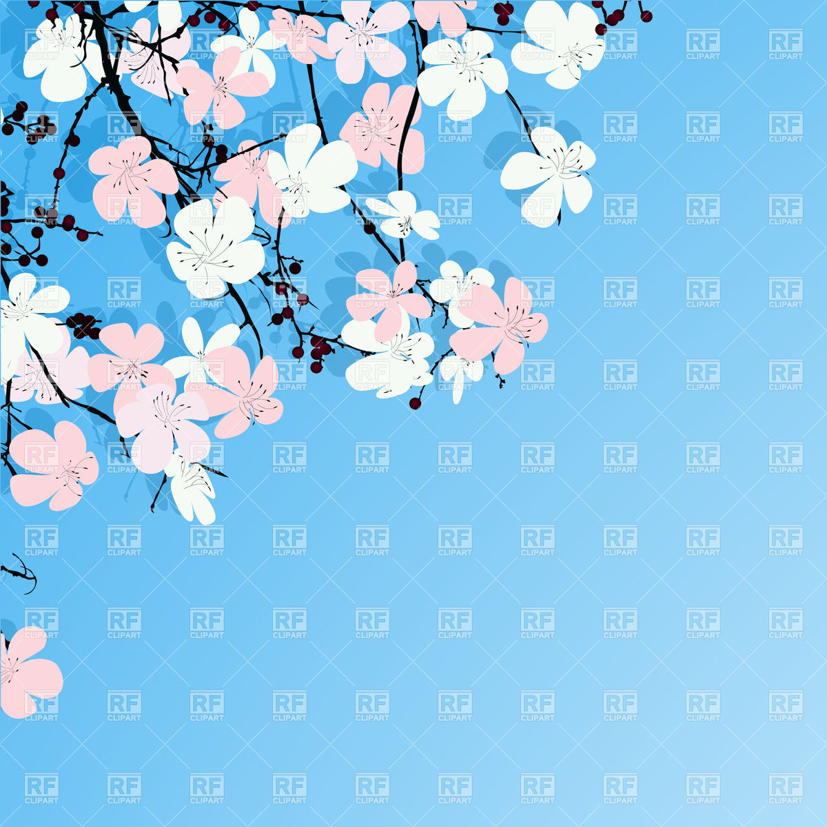 Spring greeting card with cherry blossom tree Vector Image #31793.