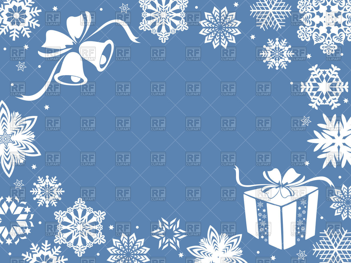 Christmas greeting card or frame with snowflakes and gifts in blue shades  Stock Vector Image.
