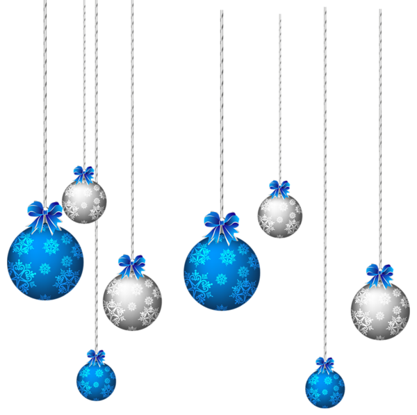 Red Green and Blue Christmas Balls PNG Clipart Image.