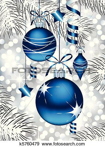 Clip Art of Blue Christmas Ornaments k5760479.