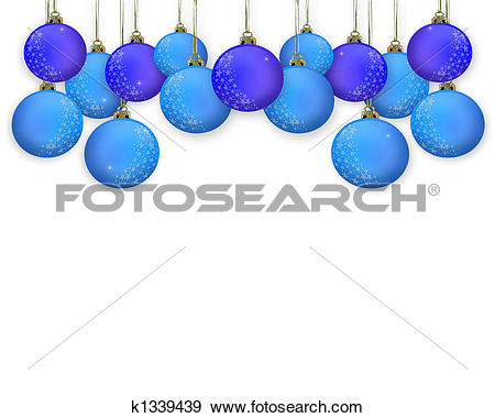 Stock Illustration of Christmas Border Blue Ornaments k1339439.